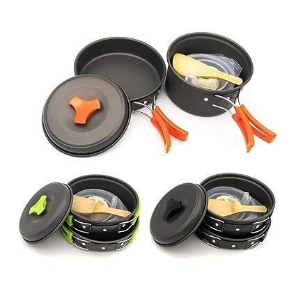 JANRON-Camping Cook 9pcs Que acampa Kit de Cocina portátil portátil ...