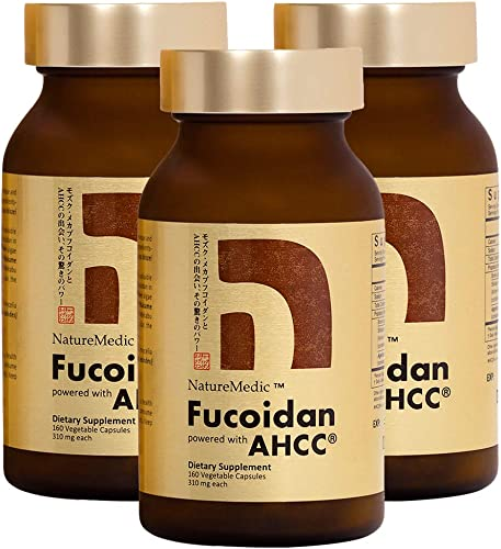 NatureMedic Fucoidan AHCC Brown Seaweed Immunity Supplement with Organic Mekabu Mozuku Agaricus 3 Bottles FREE 2 Bags of 12 Capsules – 504 Vegetable Capsules Made in Japan