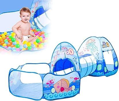 zezego tienda de juegos para niños, tienda de juego para niños dibujos animados tienda de campaña 3 en 1 para bebés túnel Rampant Play House