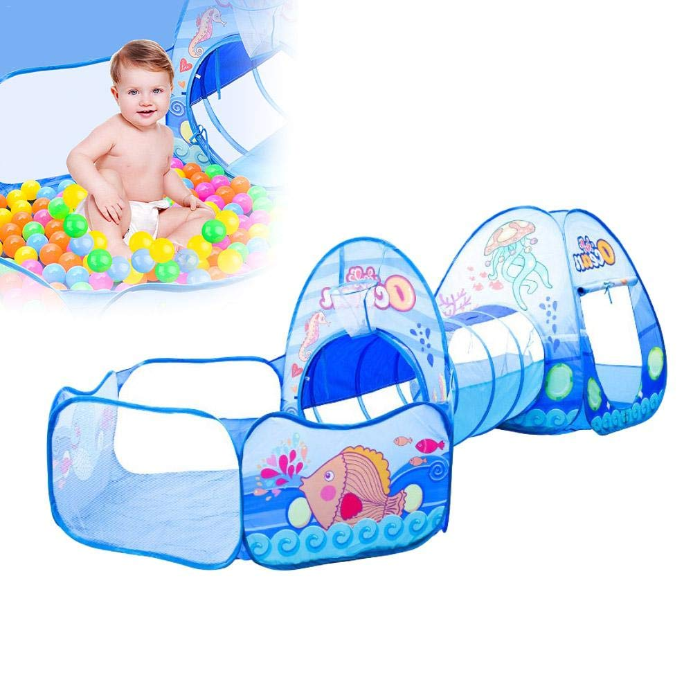 Calmson Children's Wonderful Game Tent Crawling Tunnel Game House Ocean Ball Pool Three-in-One, Ocean Theme, Indoor & Outdoor Games