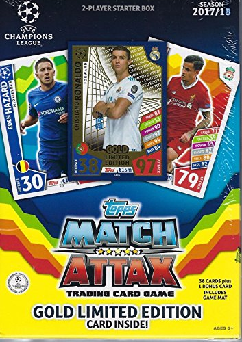 Topps 2017-18 UEFA Match Attax TCG 2-Player Starter Box, with 38 Cards per Tin Including A Game Mat