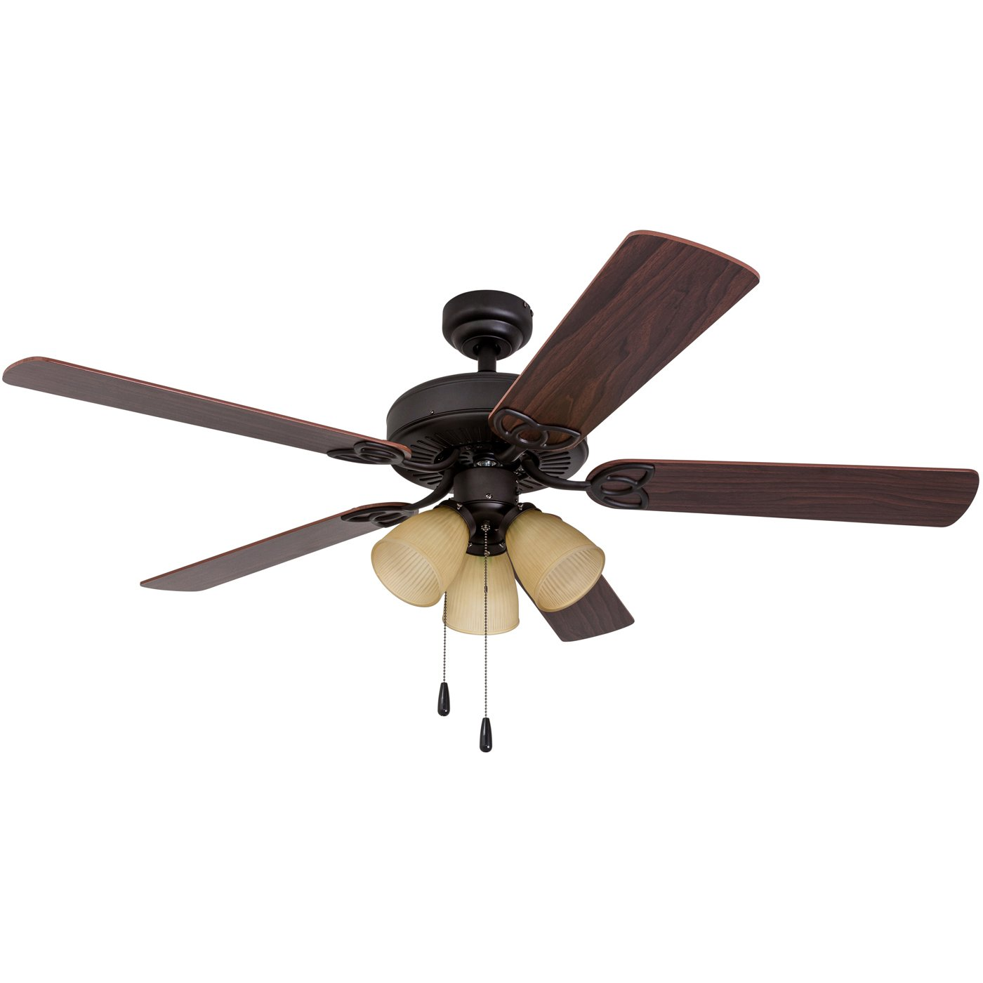 Prominence Home 80021-01 Fletcher Cove LED Ceiling Fan, 3-Light with Reversible Fan Blades, 52 inches, Bronze