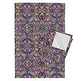 Roostery Aztec Tea Towels Aztec Mirror Neon by Chulabird Set of 2 Linen Cotton Tea Towels