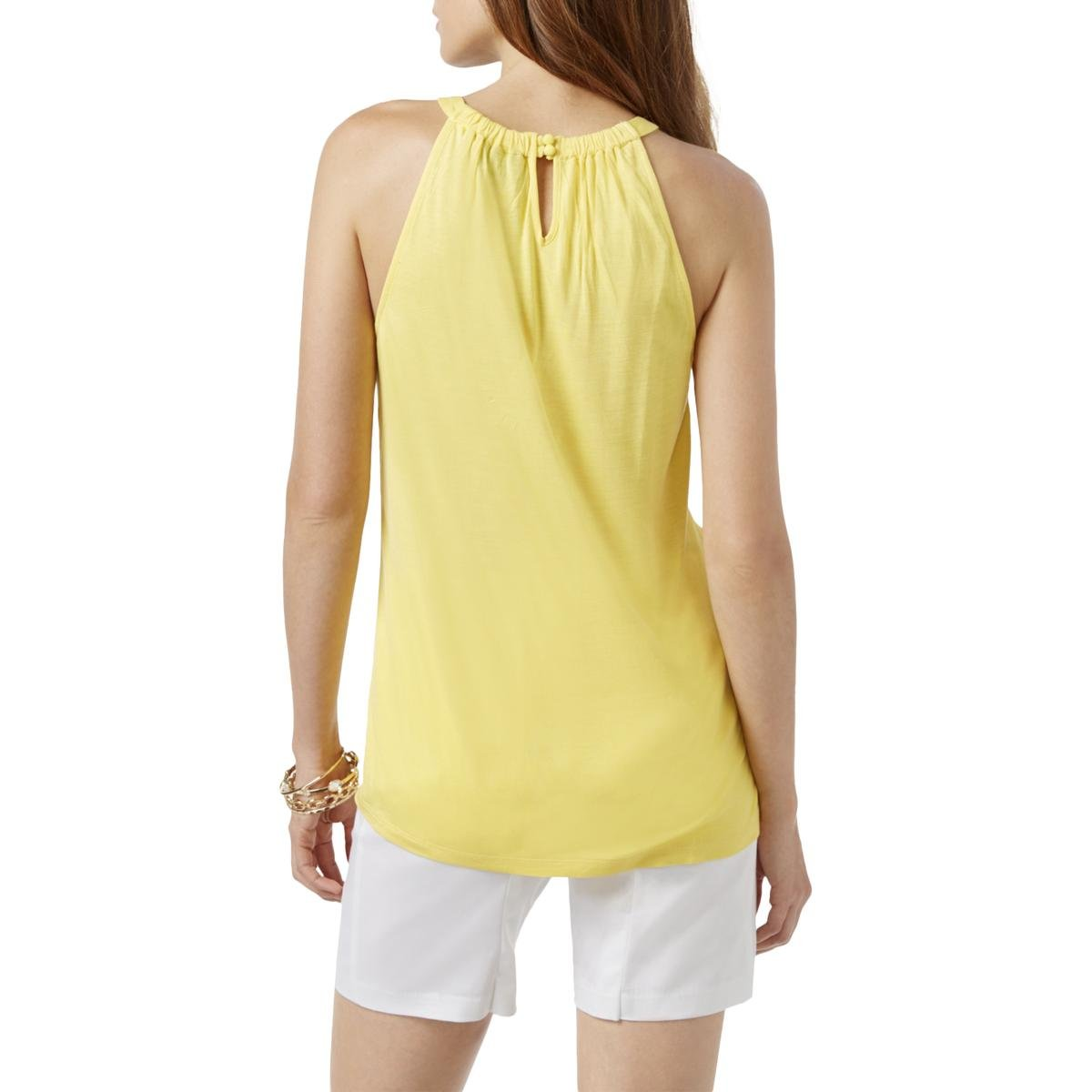 d6d9ed8a3156f Amazon.com  INC  70 Womens New 1768 Yellow Embellished Sleeveless Halter  Casual Top XS B+B  Clothing
