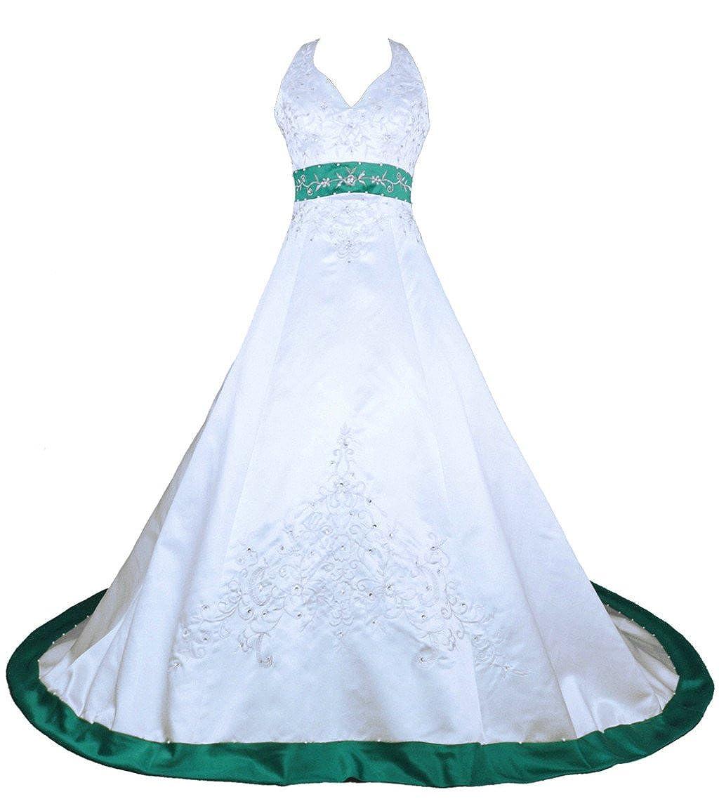 White & Teal Vantexi Women's Embroidery Satin Halter Wedding Dress Bridal Gown