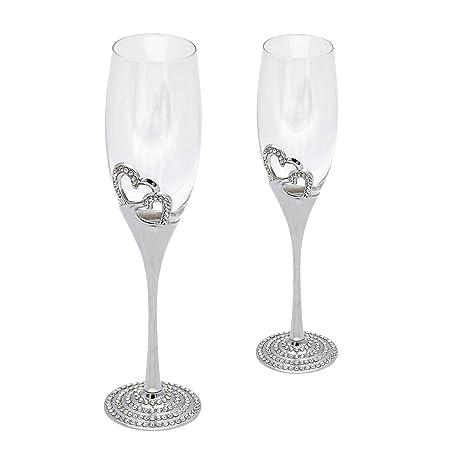 Dz Champagne Crystal Glasses Flute Pair Heart Shaped Colored Enamel Cocktail Glasses Wedding Goblet