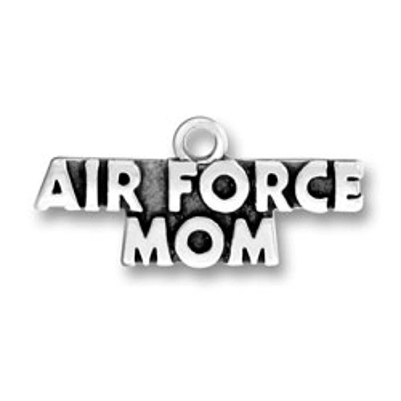 Sterling Silver AIR FORCE MOM Military Armed Forces Word Charm