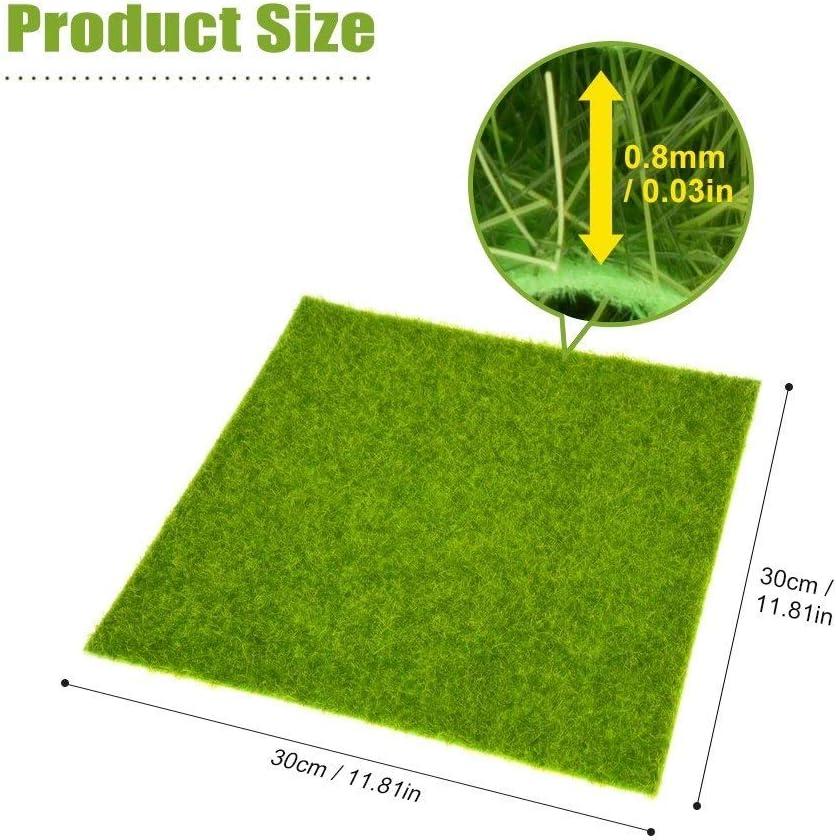 Césped Artificial Césped Artificial Mat- Gras miniatura decoración de jardín, 30 x 30 cm cojín del animal doméstico de interior / exterior de plástico Césped de alfombras, hierba de simulación, casa d: