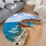 Nalahome Modern Flannel Microfiber Non-Slip Machine Washable Round Area Rug-ean View Tranquil Beach Cabo De Gata Spain Coastal Photo Scenic Summer Scenery Blue Brown area rugs Home Decor-Round 75''