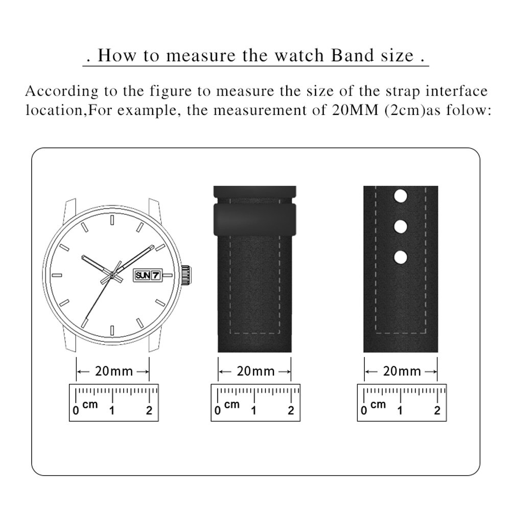 MSTRE NP125 22mm Watch Band Suitable for Hamilton Watches with Steel Buckle for Men&Women (20mm, Brown) by MSTRE (Image #6)