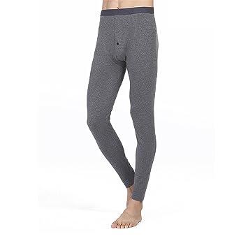 HMILYDYK de hombre Invierno Caliente térmica ropa interior pantalones capa Base pantalón de algodón suave largo