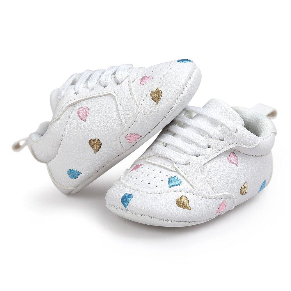 ❤ Zapatos Bebe Primeros Pasos, niña niño Bordado del bebé Amor Forma Vendaje Suela Suave Zapatos Zapatillas de Deporte Casuales Zapatos de Invierno otoño ...