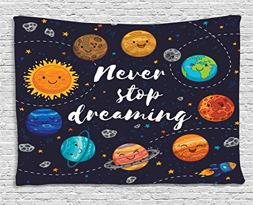 Quotes Decor Tapestry by Ambesonne, Cute Outer Space Planets and Star Cluster Solar System Moon and Comets Sun Cosmos Illustration, Wall Hanging for Bedroom Living Room Dorm, 60 W X 40 L Inches, (Christmas Star Picture)