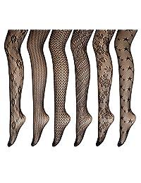 PreSox Fishnet Tights Seamless Nylon Stockings Toeless Pantyhose for Women 6 Pack