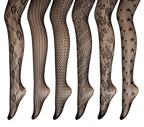 PreSox Fishnet Tights Seamless Nylon Mesh Stockings Toeless Pantyhose for Women 6 Pack, One Size, C ()