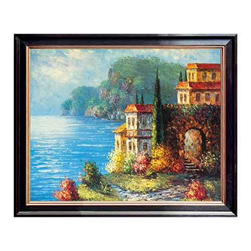 Mediterranean Sea Pictures (Modern Giclee Italy Town Mediterranean Sea Coast Oil Paintings Reproduction Pictures Photo Printed on Canvas Wall Art work for Bed room Home Decorations.)