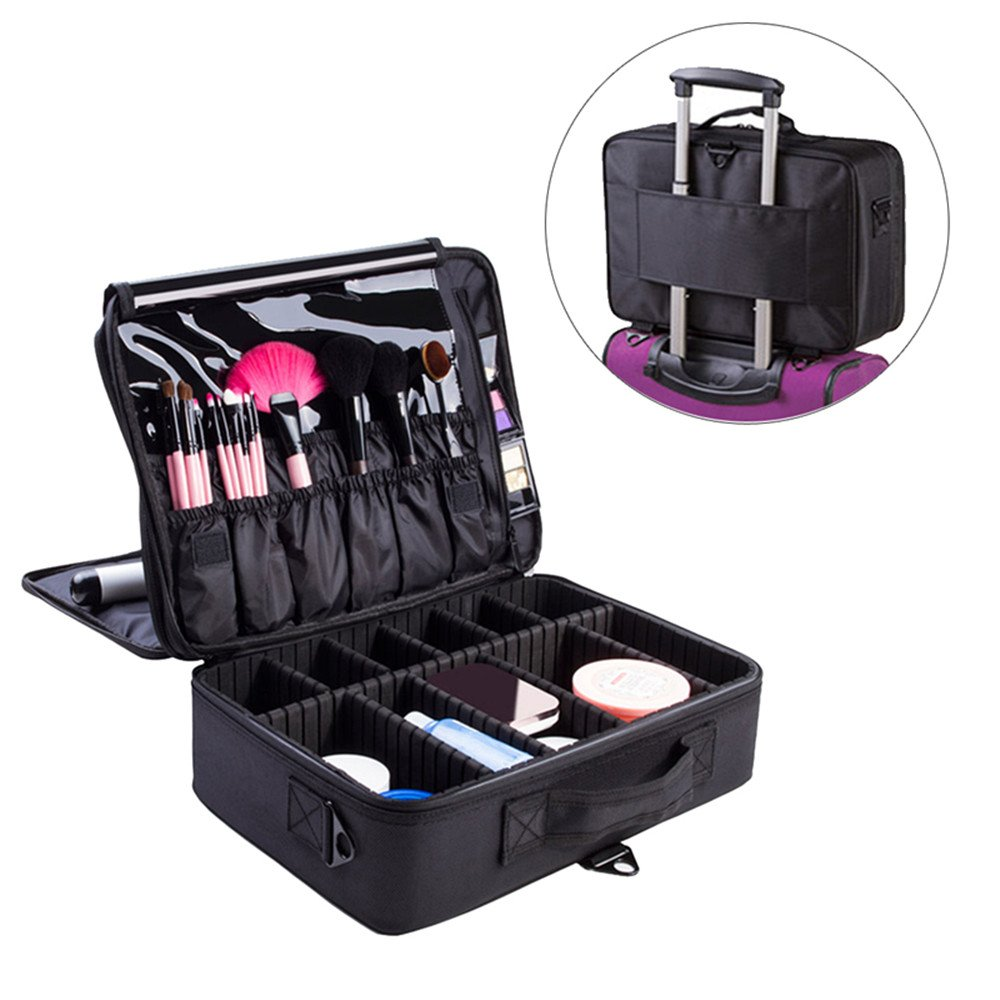 FLYMEI Portable Makeup Train Case, Professional Makeup Case 3 Layer Cosmetic Organizer 16'' Makeup Artist Case with Shoulder Strap and Adjustable Divider, Black by FLYMEI (Image #1)