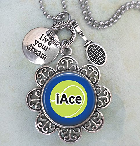 iAce Tennis Keychain, Purse Clip or Necklace, Live Your Dream, Tennis Racket Charm, All Sizes, Team Gift, Women, Girls, Teens