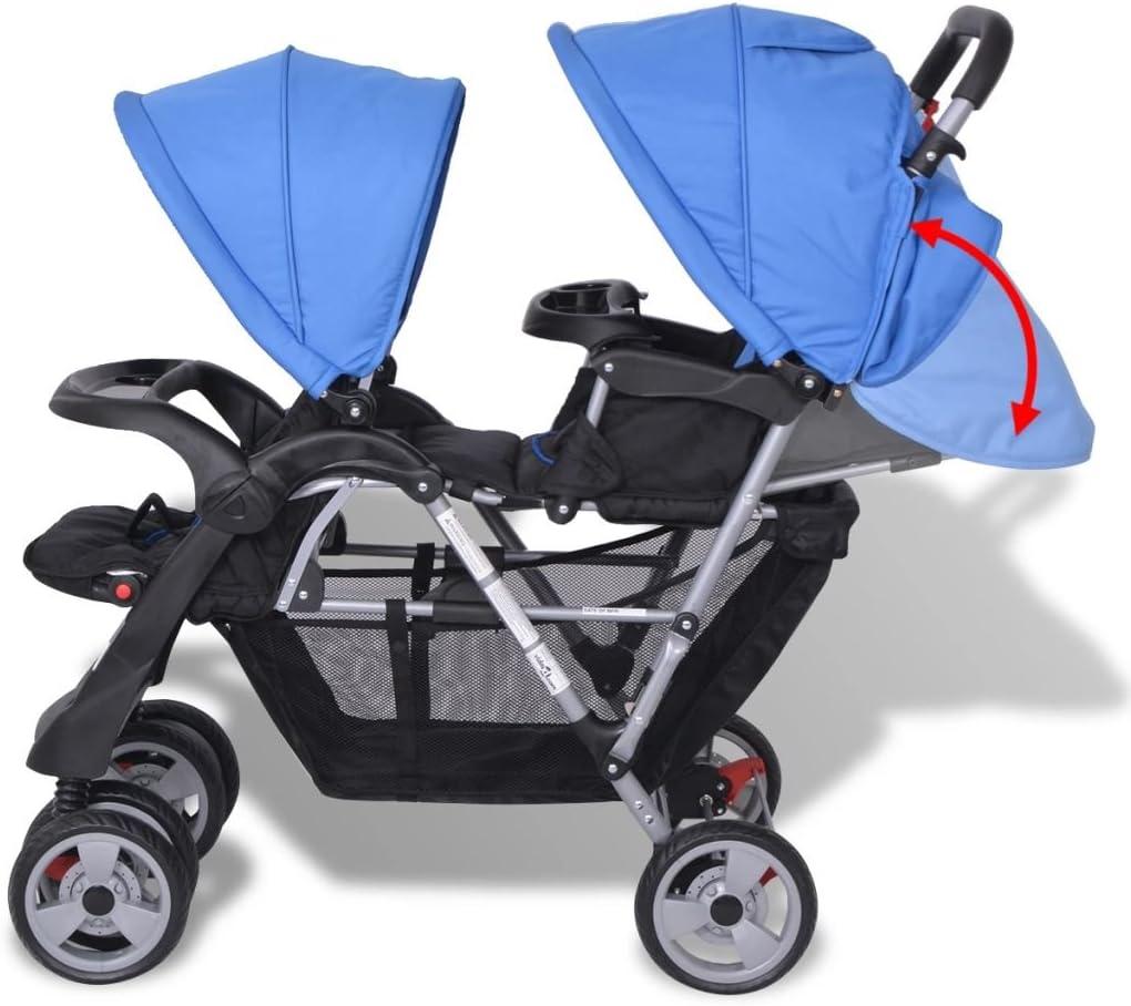 Oxfordgewebe f/ür 1-2 Kinder bis zu je 15kg mewmewcat Geschwisterwagen Kinderwagen Geschwisterkinderwagen aus Stahl Blau und Schwarz