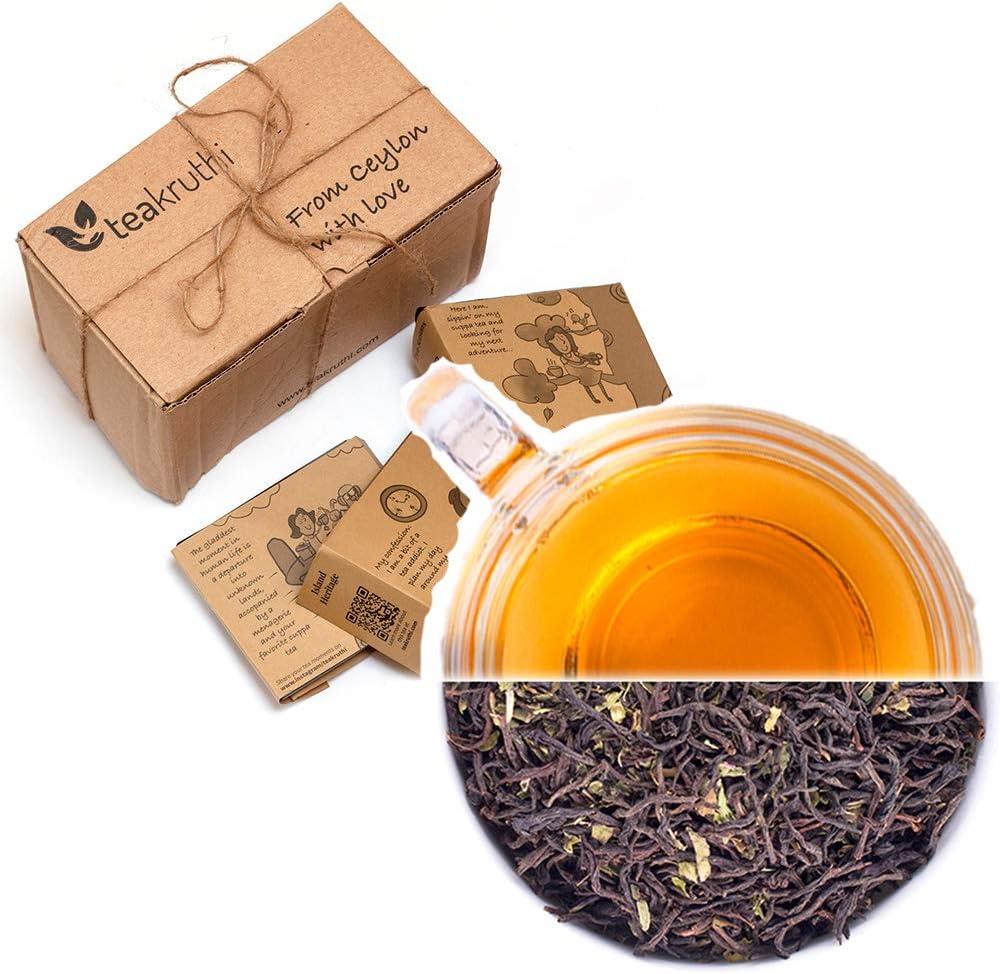 teakruthi - 100% All Natural Pure Ceylon Tea - Minty Fresh Black Tea Infusion - Orange Pekoe One OP1 - Loose Leaf Tea - Calming Tea - Refreshing Summer Tea - Brew Hot Tea, Iced Tea or Kombucha Tea
