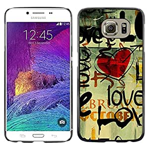 LECELL -- Funda protectora / Cubierta / Piel For Samsung Galaxy S6 SM-G920 -- Love Grunge Heart --