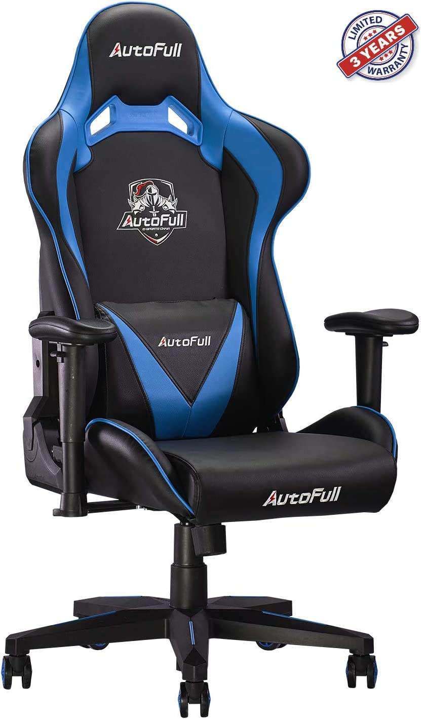 AutoFull Computer Gaming Chair - Adjustable Reclining High-Back PU Leather Swivel Game Chair with Headrest and Lumbar Support (PU, B-Blue)
