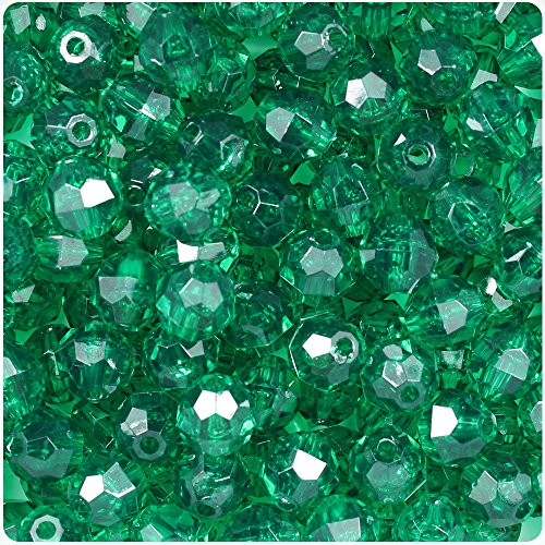 - BEADTIN Emerald Green Transparent 10mm Faceted Round Craft Beads (210pc)