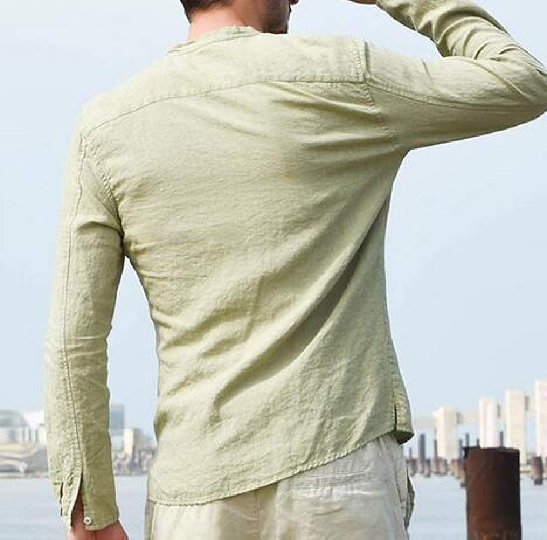 Fubotevic Mens Cotton Linen Long Sleeve Casual Business Solid Button Down Shirt