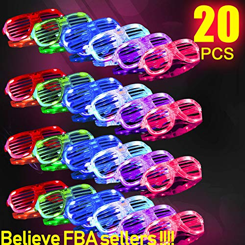 HDHF 2019 Light Up Glasses,Neon Party Supplies 20 Pack LED Glasses,6 Color LED Sunglasses Shutter Shades Light Up Plastic Shutter Shades Glow in The Dark Party Favors