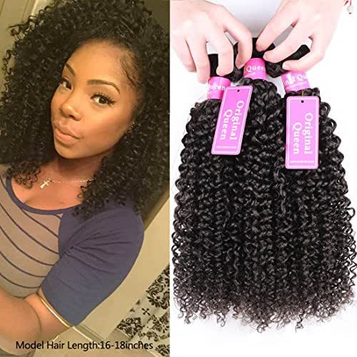Original Queen 100% Brazilian Unprocessed Virgin Kinky Curly Human Hair Weave 3 Bundles Deep Curly Hair Extensions Mixed Length 10 12 14inches