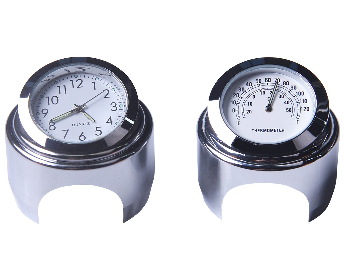 Motorcycle Handlebar Clock & Thermometer 7/8 Inch Universal Waterproof Motorcycle Handlebar Clock Yamaha Kawasaki Honda Suzuki Harley Davidson (white) [Energy Class A++] Yooap