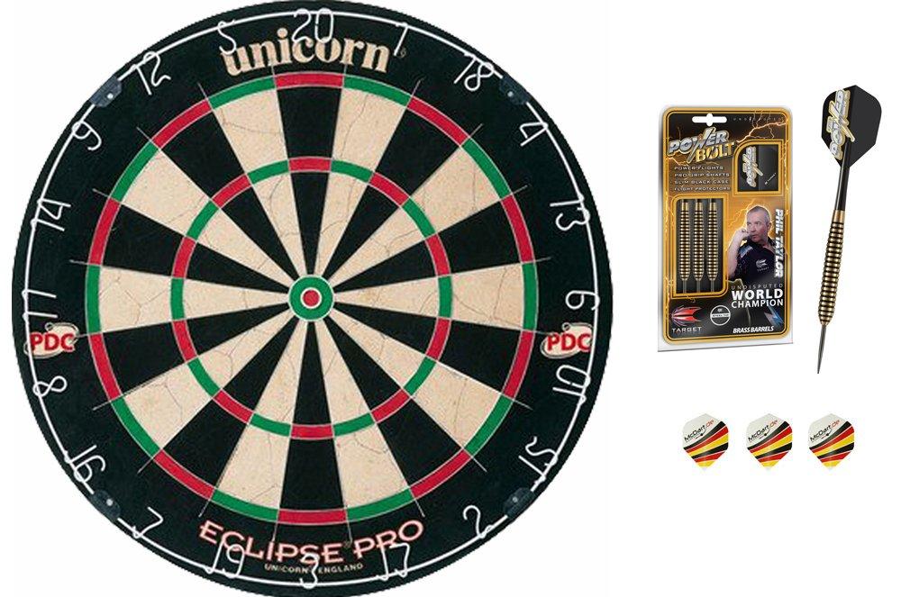 Target Phil Taylor 24g Bolt Darts + Unicorn Eclipse Pro Dartboard + McDart®Flights