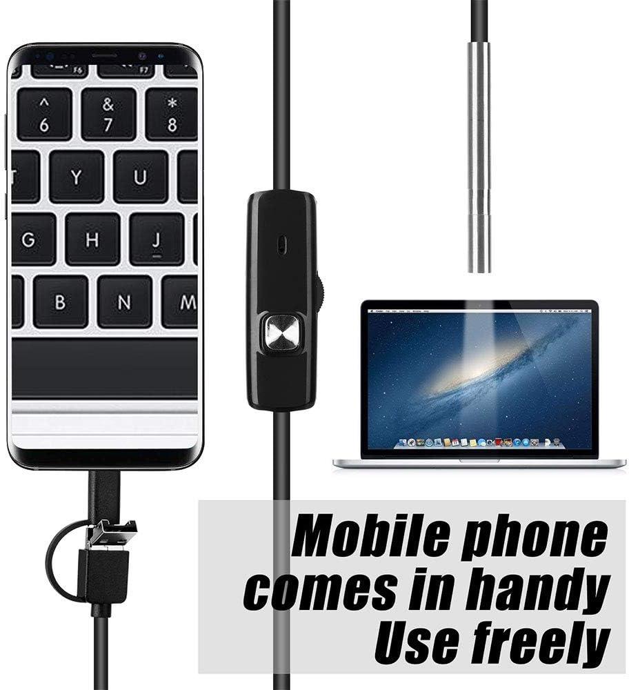 MIASY Endoskop-Kamera 3.9mm 3in1 USB-Mini-Camcorder IP67 Wasserdicht 6 LED-Endoskop Inspektionskamera f/ür Windows MacBook PC Android,1MHardwire
