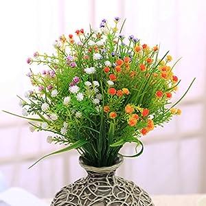 JAKY Global Artificial Flowers Babysbreath Fake Water Plants Bouquet 6 Bundle Fake Plants Wedding Bridle Bouquet Outdoor Home Office Christmas Decor 3