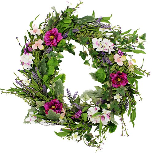 Windsor Silk Spring Door Wreath 24 Inch- Beautiful Silk Front Door Wreath For Spring And Easter Wreath Display, Handcrafted With Care, Beautiful White Gift Box Included (Christmas Purple Wreath)