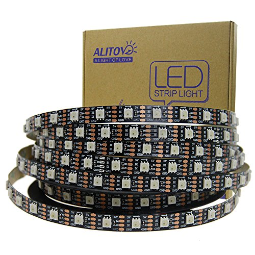 ALITOVE WS2813 Upgraded WS2812B Individually Addressable Programmable RGB LED Strip Pixels Light 16.4ft 5m 300 LEDs Signal Break-Point Continuous Transmission Not Waterproof Black PCB 5V DC