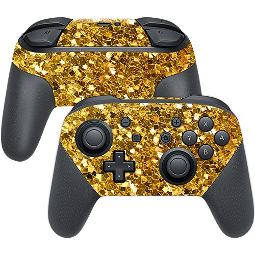 MightySkins Skin Compatible with Nintendo Switch Pro Controller - Gold Chips   Protective, Durable, and Unique Vinyl Decal wrap Cover   Easy to Apply, Remove, and Change Styles   Made in The USA