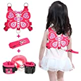 Lehoo Castle Toddlers Leash 4-in-1 Anti Lost Wrist Link Child Safety Harness Kids Walking Wristband Assistant Strap Belt for Girl Pink (Butterfly)
