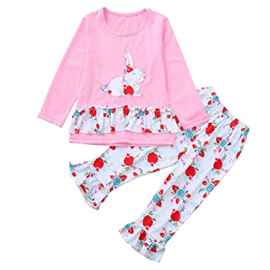 54ee677ae Amazon.com: Yalasga Toddler Girls Long Sleeves Cute Rabbit Bunny Print  Top+Flower Graphic Long Pants Clothes Outfit Sets: Clothing