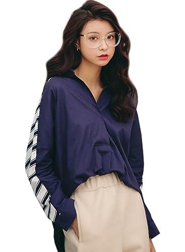 Azbro Mujer Blusa Rayada Alto-bajo de Estilo Suelto