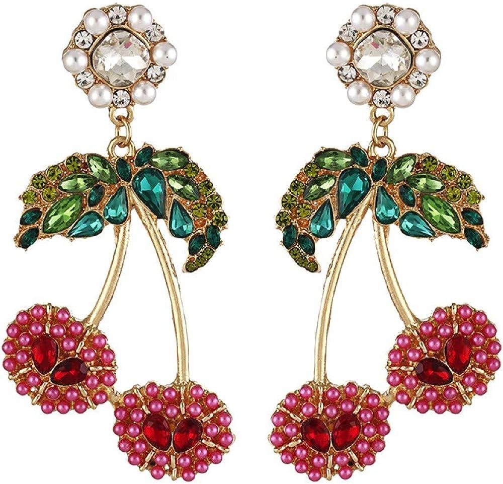 Summer Fashion Women Bohemian Fruit Stud Jewelry Cherry Earrings Dangle Drop