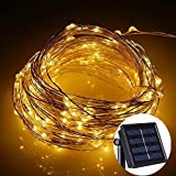 Flexble Solar Fairy String Lights Garden Outdoor/Indoor Copper Wire Lights Solar Powered Christmas Tree 100 Micro Warm White LEDs Starry Firefly Rope Lamp Waterproof 10M 2 Modes for Valentine's Day,Party,Wedding,Festival