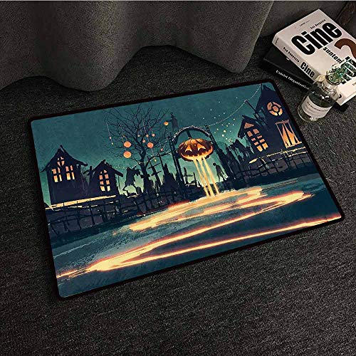 Fantasy Art House Decor Entrance Door mat Halloween Theme Night Pumpkin and Haunted House Ghost Town Artful Personality W31 xL47 Teal Orange -