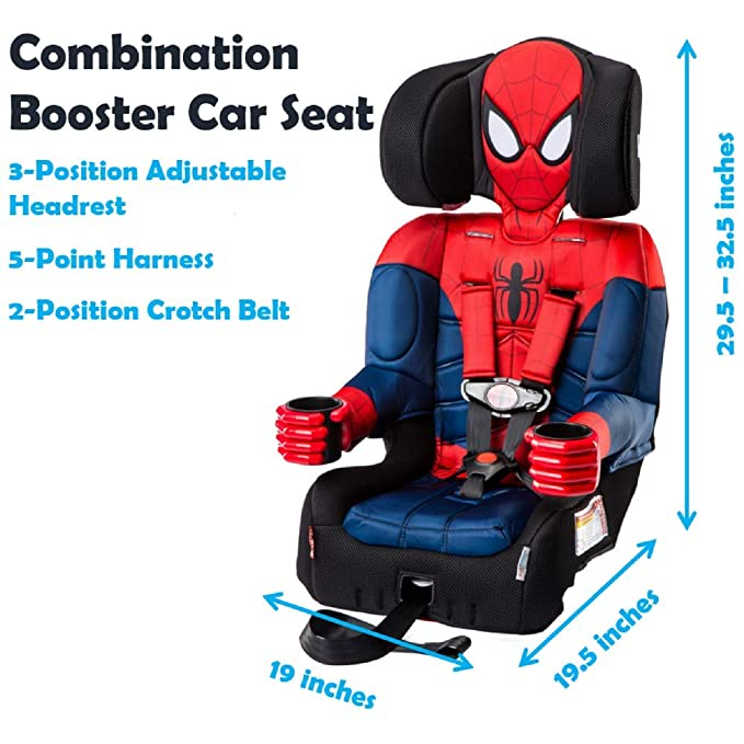 KidsEmbrace Spider Man Booster Car Seat Marvel Combination 5 Point Harness Black 40000SPD