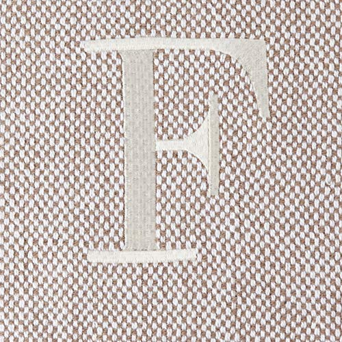 Mud Pie Woven Cotton Initial F Throw Blanket, Taupe