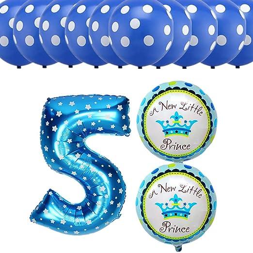 Amazon 13pcs Set Happy Birthday Party Decoration Balloons Girls Boys 5 Years Old Digital Foil Dot Latex Air Clothing