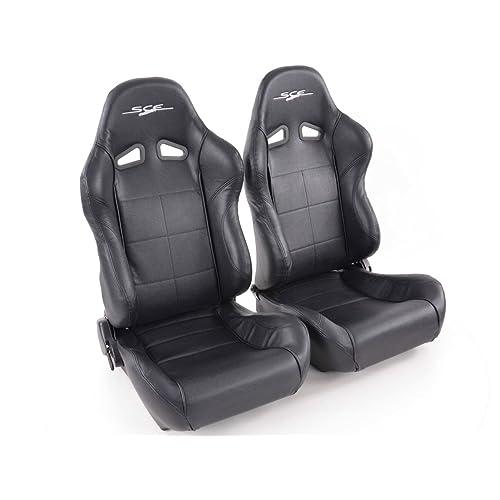 Conjunto de asientos deportivos SCE-Sportive. 1 x Asiento conductor 1 x Asiento copiloto. Negro