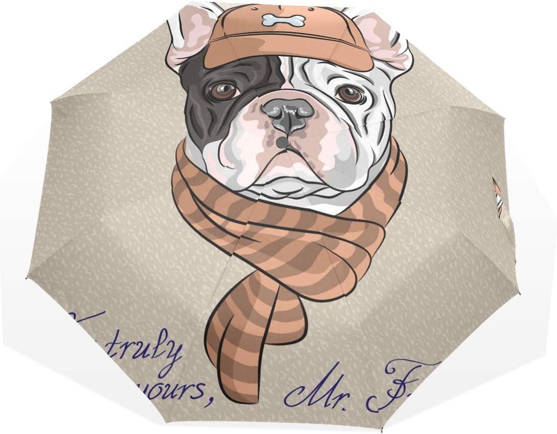 GUKENQ - Paraguas de Viaje Ligero y antiUV para Hombre, Mujer y niños, Resistente al Viento, Plegable, Compacto, diseño de Perro Bulldog francés: Amazon.es: Deportes y aire libre