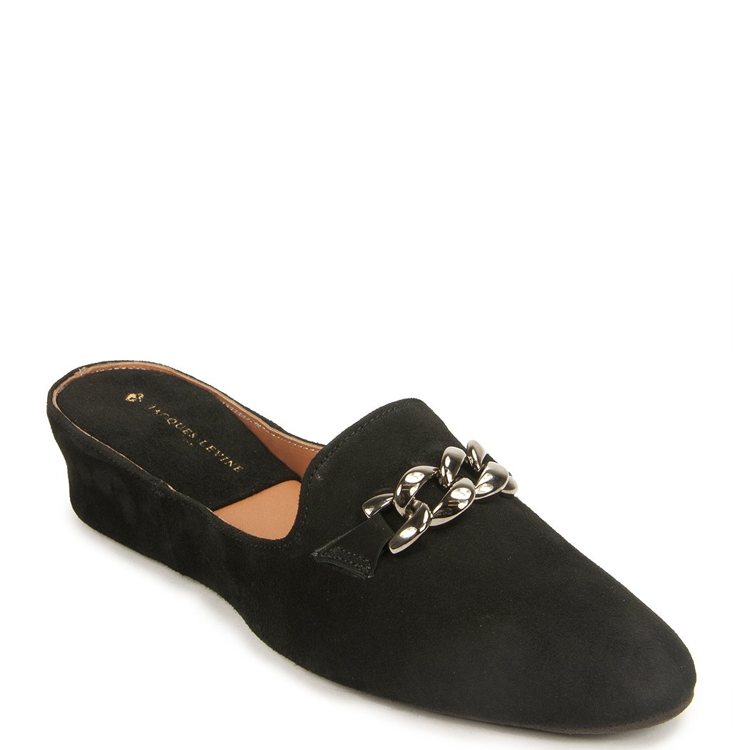 Jacques Levine Chaine Suede Women's Slipper, 7.5B Black