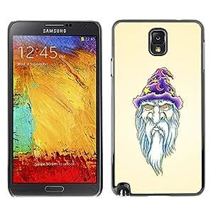 Caucho caso de Shell duro de la cubierta de accesorios de protección BY RAYDREAMMM - Samsung Galaxy Note 3 N9000 N9002 N9005 - Beard Wizzard Witch Art Portraid White Old Man